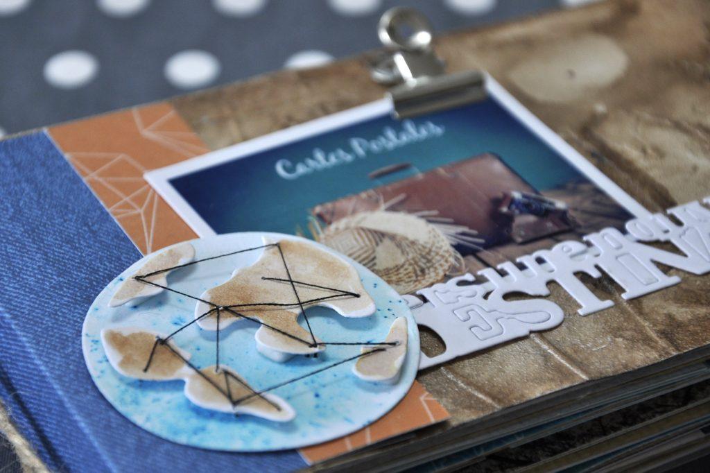 Mini-album Carte postale avec les papiers de pandore